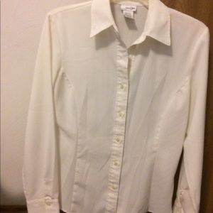 Ladies Eggshell Button Down Silky Shirt